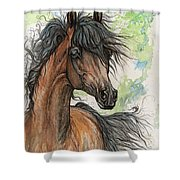 Wieza Wiatrow Polish Arabian Mare Watercolor Painting  Shower Curtain