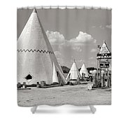 Wigwam Village #2 Coca-cola Sign Marion Post Wolcott  Cave City Kentucky July 1940-2014 Shower Curtain