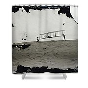 The Wright Brothers Wilbur In Motion At Left Holding One End Of Glider Shower Curtain
