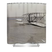The Wright Brothers Wilbur In Prone Position In Damaged Machine Shower Curtain