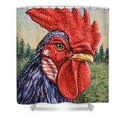 Wild Blue Rooster Shower Curtain