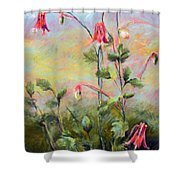 Wild Columbines Shower Curtain by Lenore Gaudet
