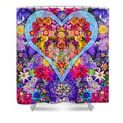 Wild Flower Heart Shower Curtain by Alixandra Mullins