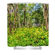 Wild Ginger And Ohia Trees Shower Curtain