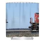 Train Chasing Canada Goose Shower Curtain