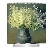 Wild Lilacs And Forget Me Nots Shower Curtain by Isaak Ilyich Levitan