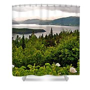 Wild Roses At Photographer's Point Overlooking Bonne Bay In Gros Morne Np-nl Shower Curtain