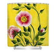 Wild Roses On Yellow Shower Curtain