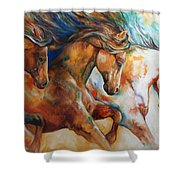 Wild Trio Run Shower Curtain