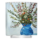 Wildflowers In A Blue Vase Shower Curtain