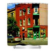 Wilenskys Famous Light Lunch Diner Corner Clark And Fairmount Montreal City Scene Carole Spandau Shower Curtain