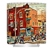 Wilenskys Paintings Hockey Art Commissions Originals Prints By Authentic Montreal Artist C Spandau Shower Curtain