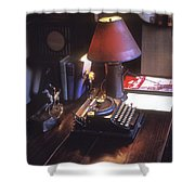 Will Rogers Desk Shower Curtain by Paul W Faust -  Impressions of Light