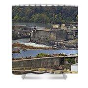 Willamette Falls Dam In Oregon City Panorama 3 Shower Curtain