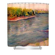 Willamette River Reflections - Morning Light Shower Curtain