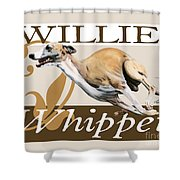 Willie The Whippet Shower Curtain by Liane Weyers