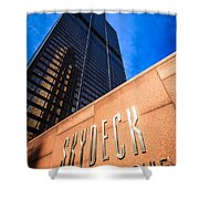 Willis-sears Tower Skydeck Sign Shower Curtain by Paul Velgos