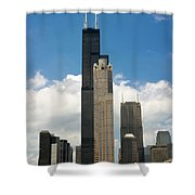 Willis Tower Aka Sears Tower Shower Curtain by Adam Romanowicz