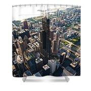 Willis Tower Chicago Aloft Shower Curtain by Steve Gadomski