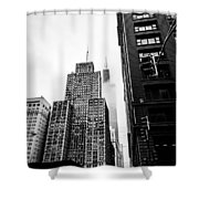 Willis Tower In The Clouds - Black And White Shower Curtain