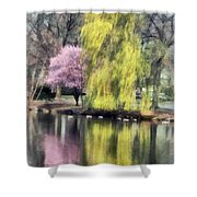 Willow And Cherry By Lake Shower Curtain