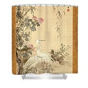 Willow And Herons Shower Curtain
