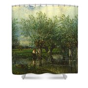 Willows With A Man Fishing Shower Curtain