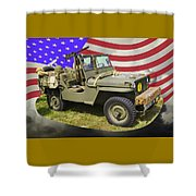 Willys World War Two Army Jeep And American Flag Shower Curtain