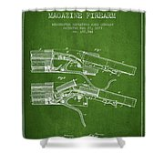 Winchester Firearm Patent Drawing From 1877 - Green Shower Curtain