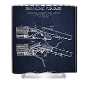 Winchester Firearm Patent Drawing From 1877 - Navy Blue Shower Curtain