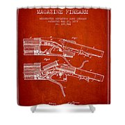 Winchester Firearm Patent Drawing From 1877 - Red Shower Curtain