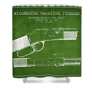 Winchester Firearm Patent Drawing From 1888- Green Shower Curtain