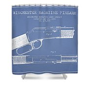 Winchester Firearm Patent Drawing From 1888- Light Blue Shower Curtain