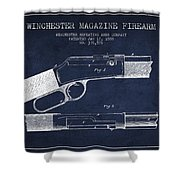 Winchester Firearm Patent Drawing From 1888- Navy Blue Shower Curtain