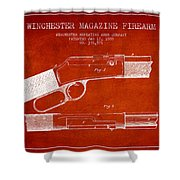 Winchester Firearm Patent Drawing From 1888- Red Shower Curtain