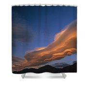 Wind Cloud Over Ben Ohau Range Shower Curtain