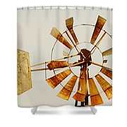 Wind Driven Rust Machine Shower Curtain