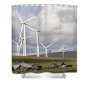 Wind Farm By Cattle Ranch In Washington State Shower Curtain