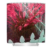 Wind In The Grass - Red Shower Curtain