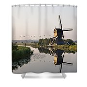 Wind Mill On A Canal, Holland Shower Curtain