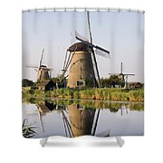 Wind Mills Next To Canal, Holland Shower Curtain