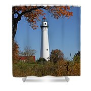 Wind Point Lighthouse 74 Shower Curtain