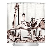 Wind Point Lighthouse Drawing Mode 1 Shower Curtain
