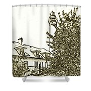 Wind Point Lighthouse Drawing Mode 2 Shower Curtain