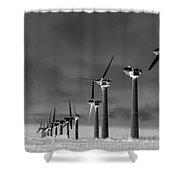Wind Power Down Shower Curtain by Daniel Hagerman