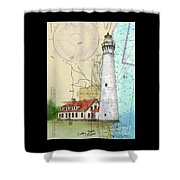 Wind Pt Lighthouse Wi Nautical Chart Map Art Cathy Peek Shower Curtain