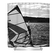 Wind Surfer II Bw Shower Curtain