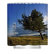Wind Turbine And Tree On The Plateau Of  Cezallier. Auvergne. France. Shower Curtain