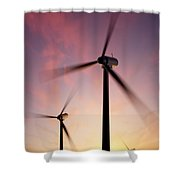 Wind Turbine Blades Spinning At Sunset Shower Curtain