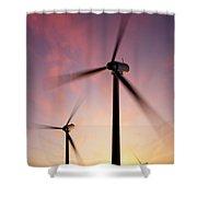 Wind Turbine Blades Spinning At Sunset Shower Curtain